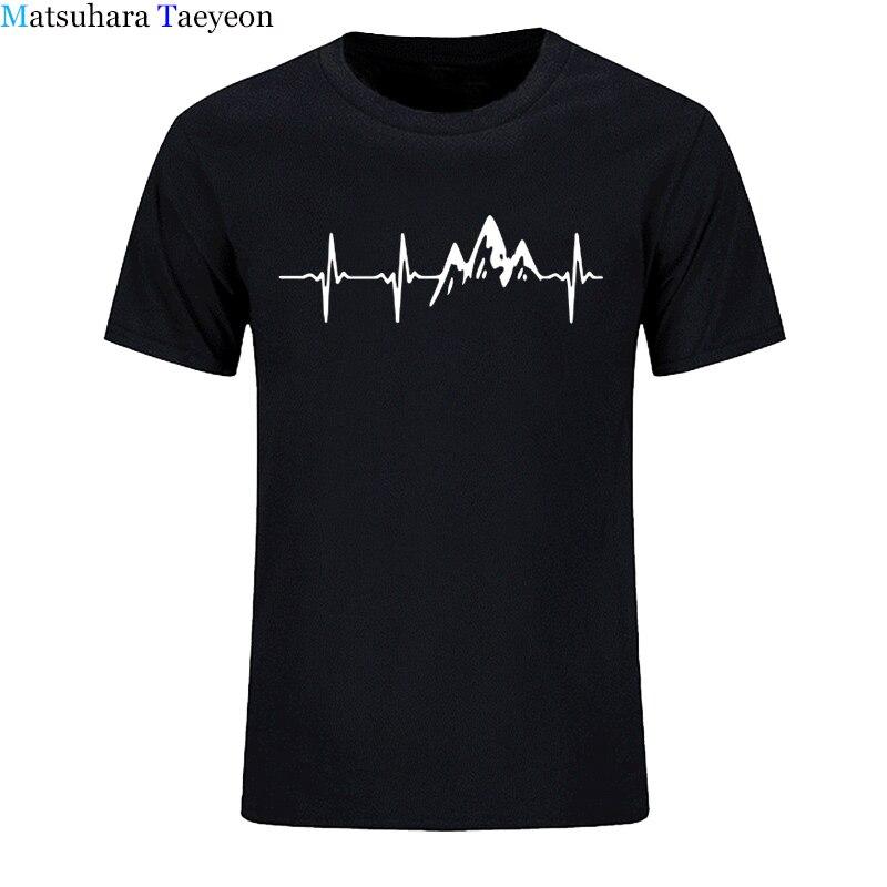 Montanha camiseta tshirts Moda Batimentos Cardíacos De Aniversário Engraçado 100% Algodão Mangas Curtas T Camisas Causal O Pescoço Tops Tees Hip Hop