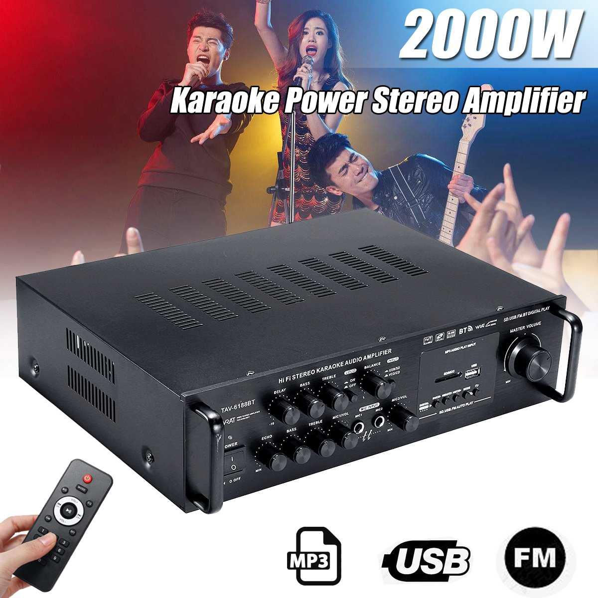2000W de Audio inalámbrico bluetooth amplificador estéreo Digital amplificador FM SD USB amplificador Karaoke KTV coche sonido de cine en casa
