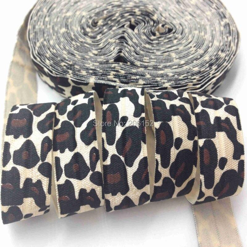"""10 yardas Impresión de leopardo pliegue sobre elástico 5/8 """"Cheetah impresión Beige bies elástico al por mayor para DIY accesorios para el cabello"""