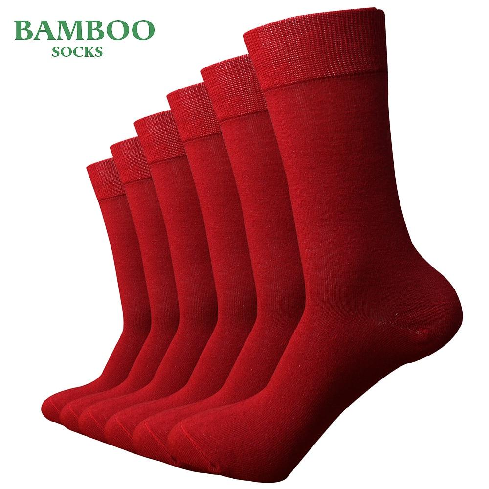 Мужские бамбуковые носки Match-Up, красные дышащие антибактериальные мужские деловые носки (6 пар/лот)