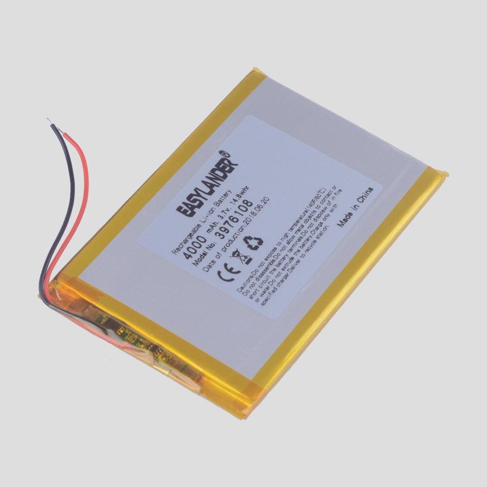 3 unids/lote 4000 mah 3976108 de litio de 3,7 v, Li-ion, batería recargable de polímero para Tablet Pc de bricolaje de energía Banco móvil de la energía PAD DVD