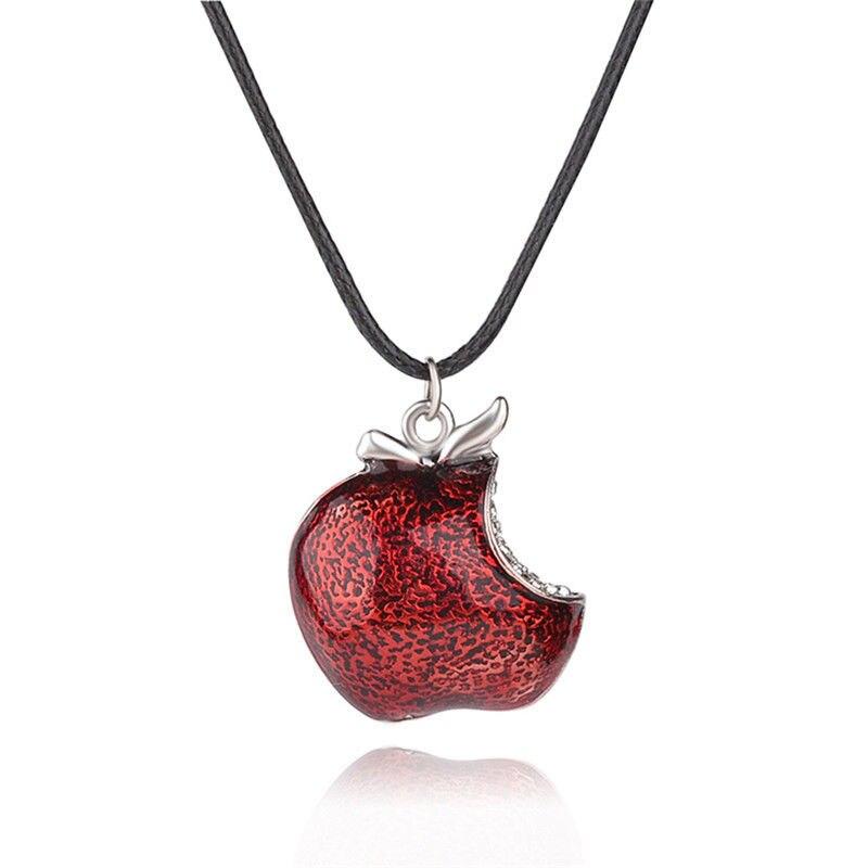 1 Uds. Colgante de manzana venenosa roja de una mordida Collar Érase una vez Collar de Regina Mills Collar Mujer Accesorios regalos