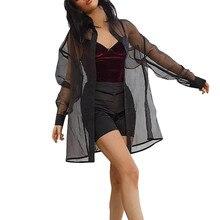 Blusa n. ° 38 de malla transparente para mujer, negro puro Kimono, Tops y blusas para mujer, perspectiva informal, Top de manga larga, chal, prendas de vestir