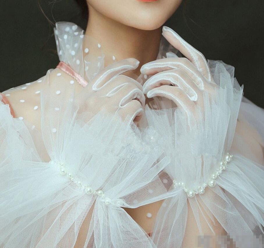 Las mujeres elegante color blanco guante de malla mujer primavera protector solar de verano guante de encaje R1426