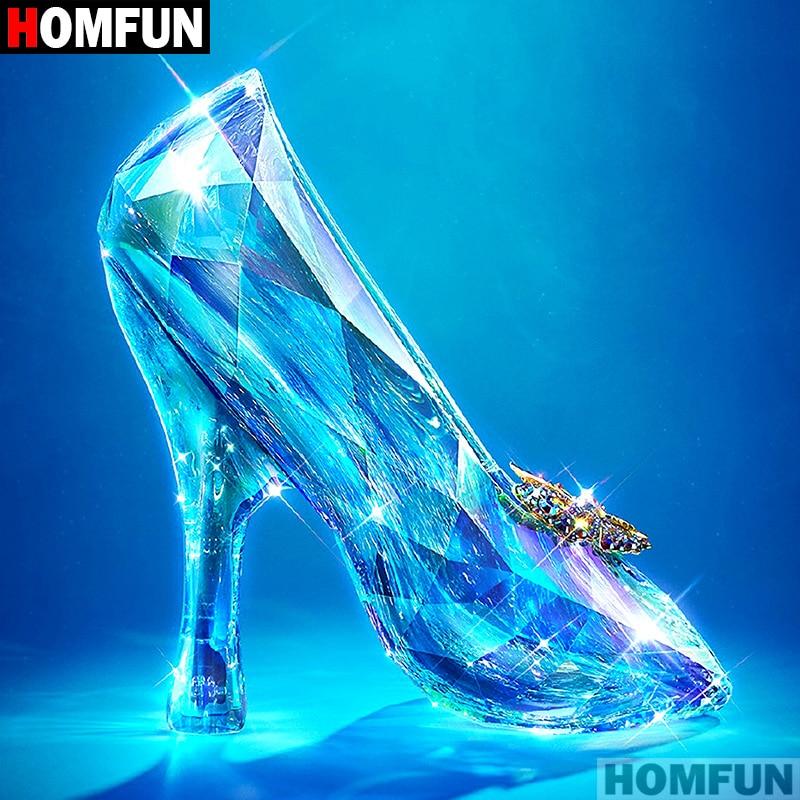 "HOMFUN taladro cuadrado/redondo completo 5D DIY pintura de diamante ""zapatos de cristal"" 3D bordado punto de cruz 5D decoración del hogar A07248"