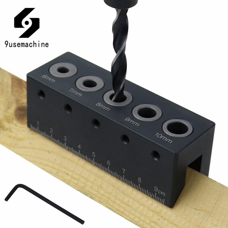 Herramienta de carpintería de aluminio con agujero de bolsillo con guía de ángulo recto y agujeros de aleación de madera
