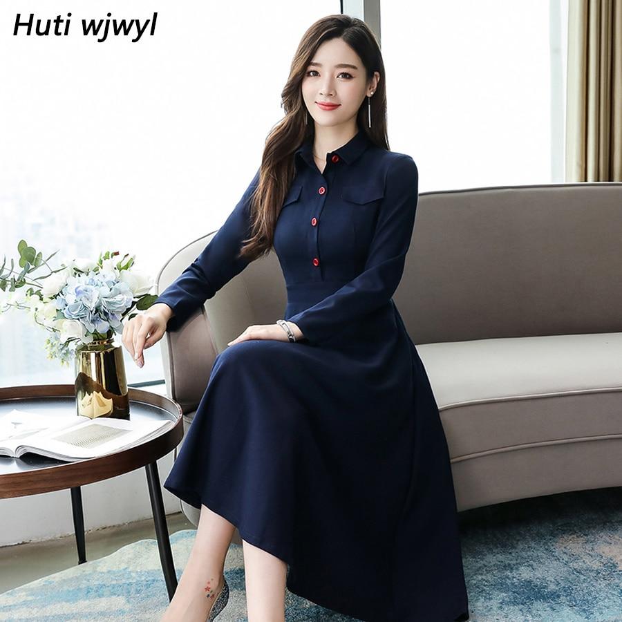 2019 Vintage Primavera Azul Chic manga larga Midi Vestidos otoño invierno más tamaño sólido vestido elegante mujeres ceñido al cuerpo Vestidos de fiesta