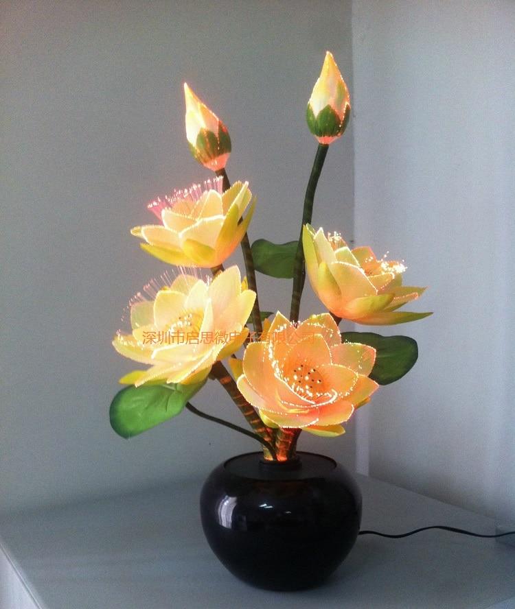 Led مصابيح على شكل أزهار لوتس ضوء بوذا مصباح Fo مصباح الجدة الفني الألياف البصرية زهرة