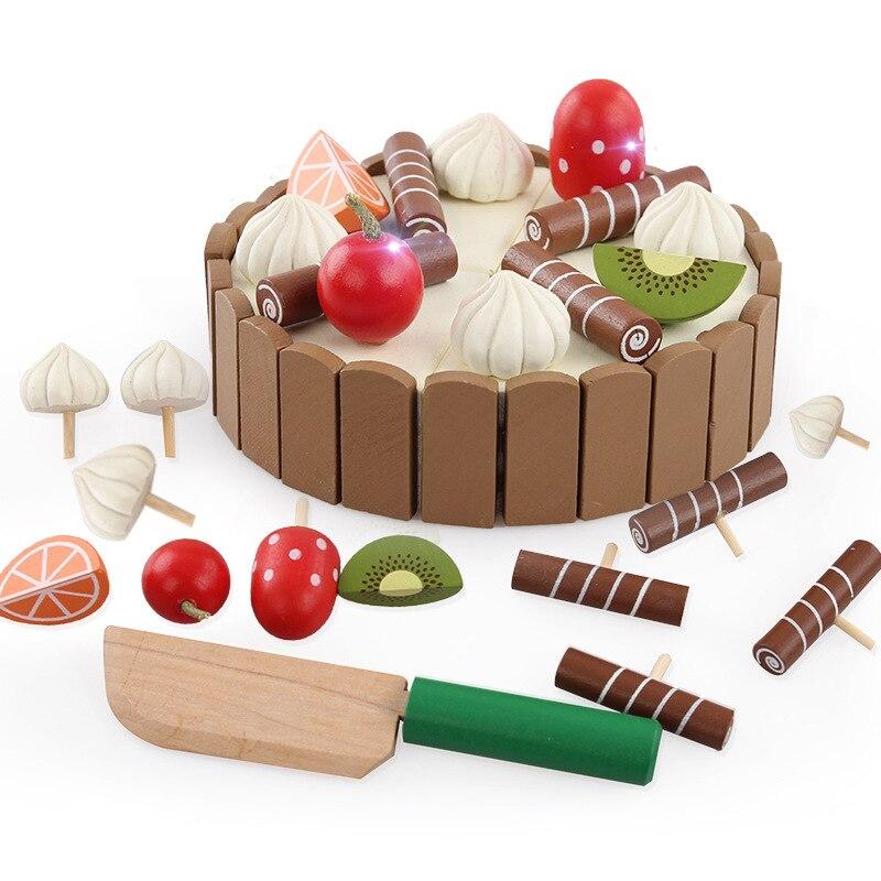 Heißer Kinder Spielzeug Geburtstag Kuchen Holz Magnetischen Kuchen Küche Frühen Lernspielzeug Baby Spielen Spiele Brinquedos Simulation Spielzeug Geschenk