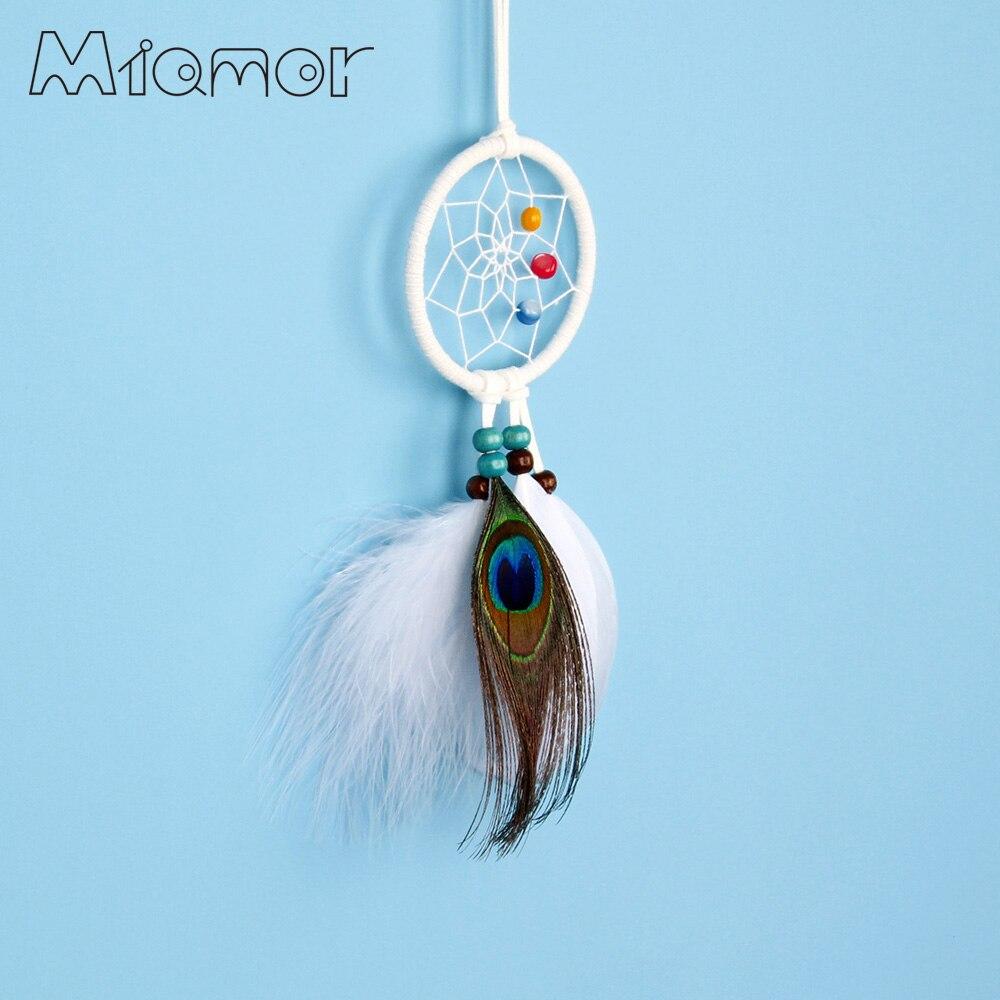 MIAMOR Pequeno Dream Catcher Com Penas Do Pavão & Colorido Natural Shell Bag & Wedding & Home Decoração Da Parede Acessórios AMOR81