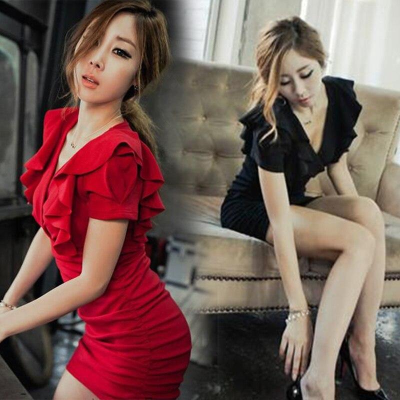 Sommer Sexy Frauen Nacht Club Bar V neck Rüschen Bodycon Kleid Femme Dame Plus Größe Dünne Kurze Mini Paket Kleid vestidos 3XL
