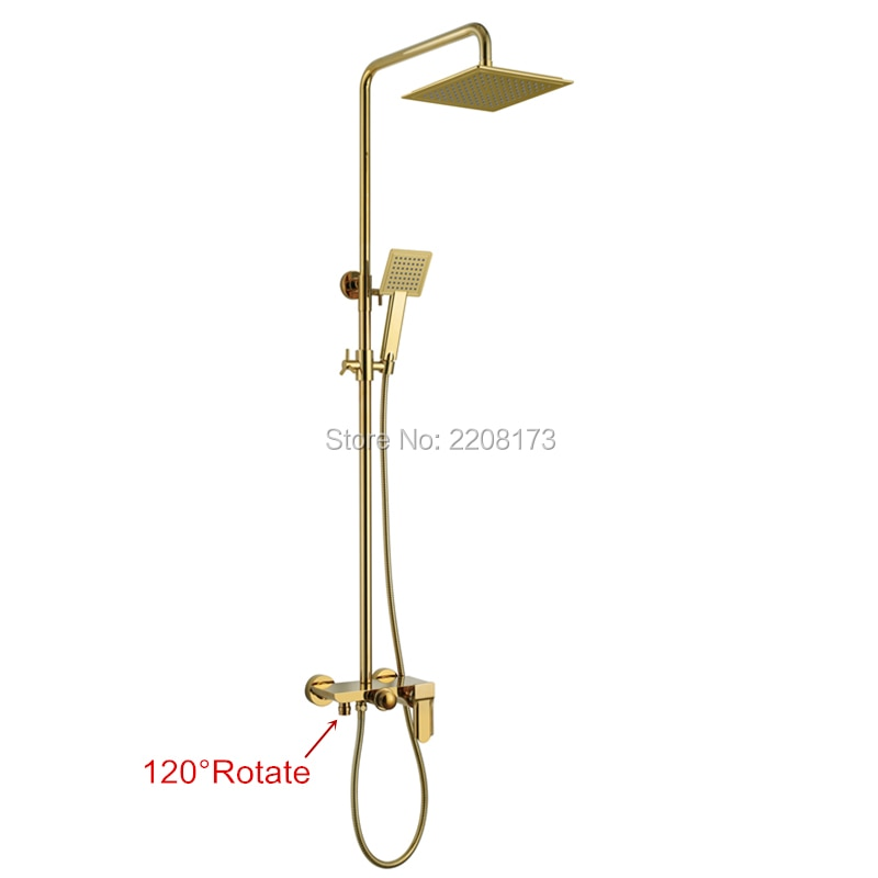 Smesiteli New Life Luxury Bathroom 10 Inch Abs Waterfall Rain Shower Head Brass Gold Black Chrome Exposed Shower Faucet Set