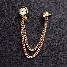 Originele Koreaanse Trend Klok Broches Pins Badge Gouden Ketting Medaille Broche Tij Mannelijke Pak Kraag Revers Pin Mannen Sieraden Accessoires