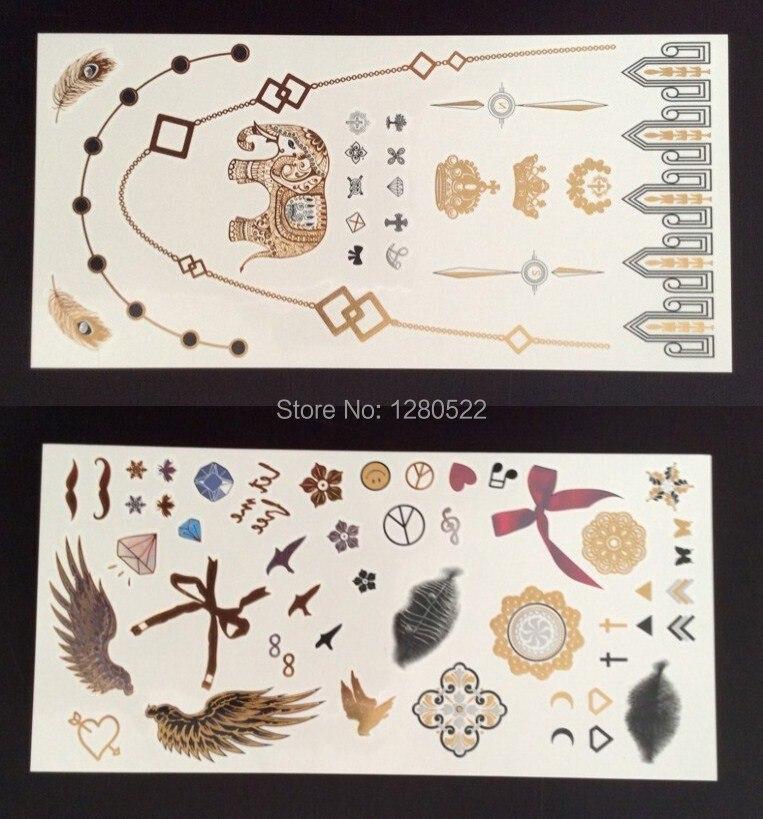 12 sheets/lot Bunte Metallic Flash Tattoo Gold Tatoo Musical Temporäre Körper Mix Muster