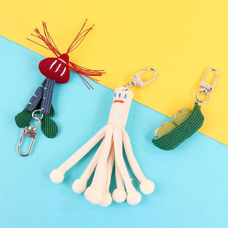 Edamame chaveiros de lã, chaveiros de lã de desenho animado para mulheres e homens, enfeite de presente para chave de carro