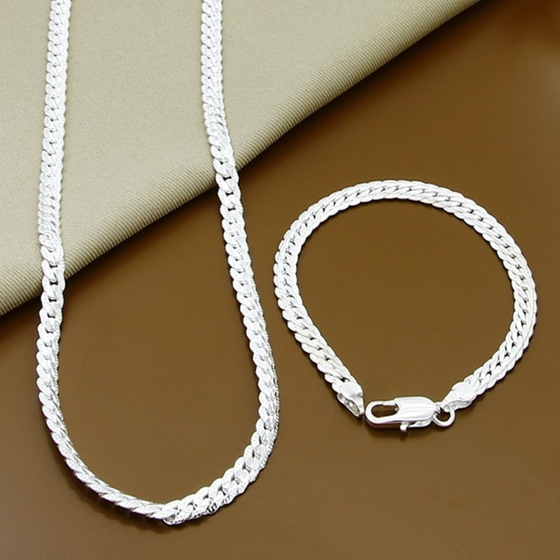 AliExpress - Wholesale Price 6MM Full Sideways Necklace Bracelet Sets 925 Silver Jewelry Sets For Woman Men Top Quality