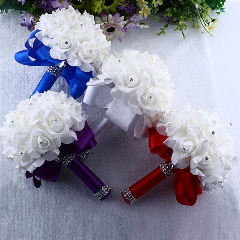 2018 Beatiful Bride Holding Bouquet Rose Foam Flowers Handmade Wedding Decor Bouquet Bridesmaid New Arrive Arrive Decoration