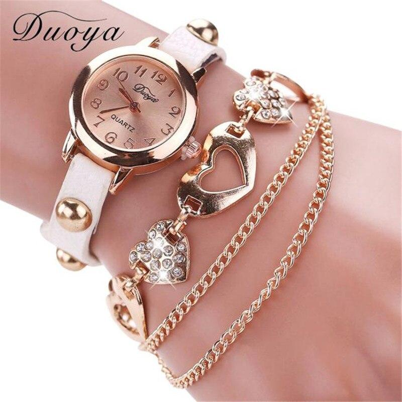 Duoya requintado relógios pulseira relógio feminino relógios de pulso moda luxo grânulo grinalda feminino relógios de pulso relogio feminino # d