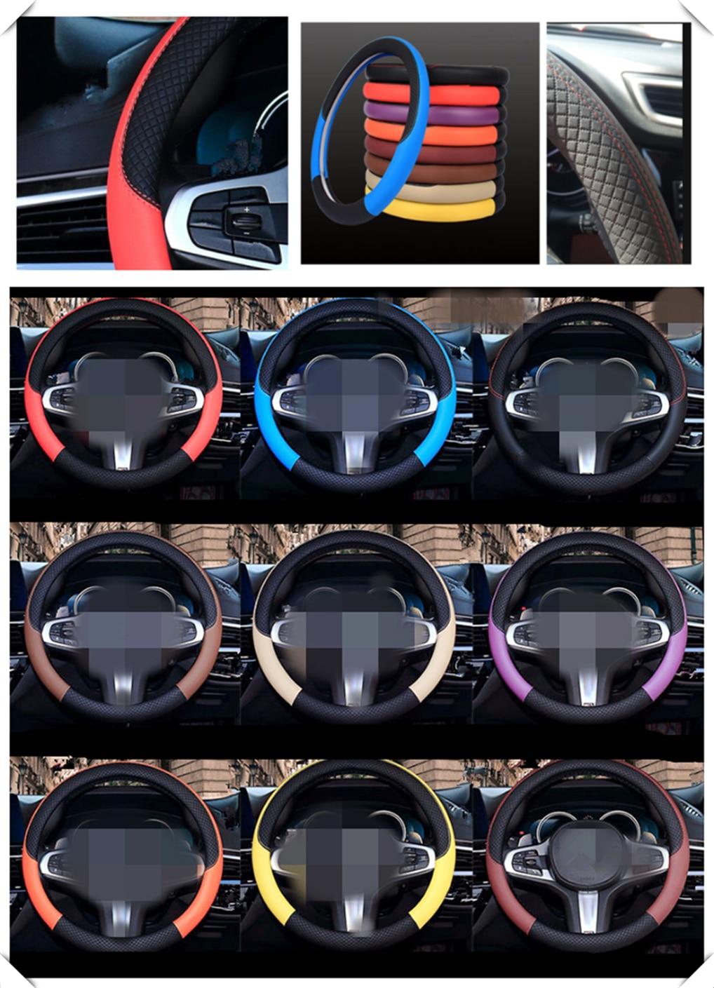 Auto partes volante cubierta 38 cm o 15 pulgadas cuero tejido para Renault Alaskan Trezor Talisman Kwid Espace Kangoo