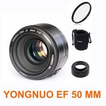 YONGNUO YN50mm f1.8 YN 50mm AF lentille YN50 Auto Focus objectif + capot + UV len + sac pour Canon EOS DSLR appareils photo