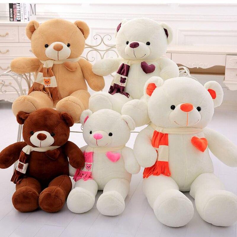 Caliente juguetes 80CM osito de peluche amoroso con animal relleno bufanda de oso de peluche Oso de juguete relleno Mujer abrazo de oso juguete de oso para bebé regalo de cumpleaños