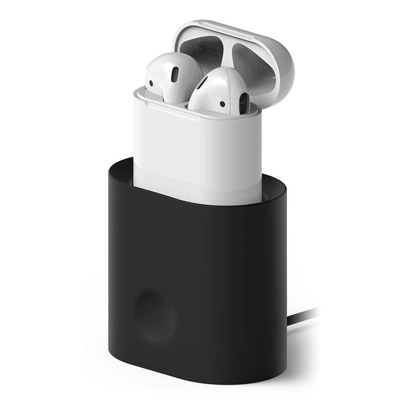 De silicona de la estación de cargador de Base de carga soporte para Apple cargador airpods muelle Estación de silicona suave de carga Dock soporte