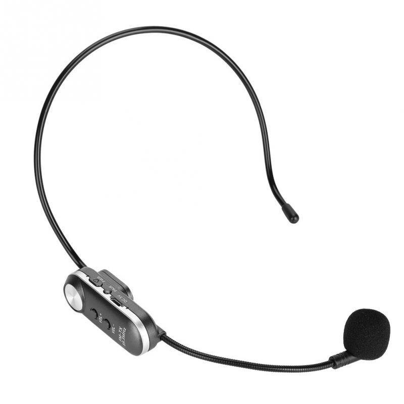 Micrófono inalámbrico Bluetooth portátil montado en la cabeza micrófono transmisión FM 89,3 MHz batería incorporada reunión micrófono parlante