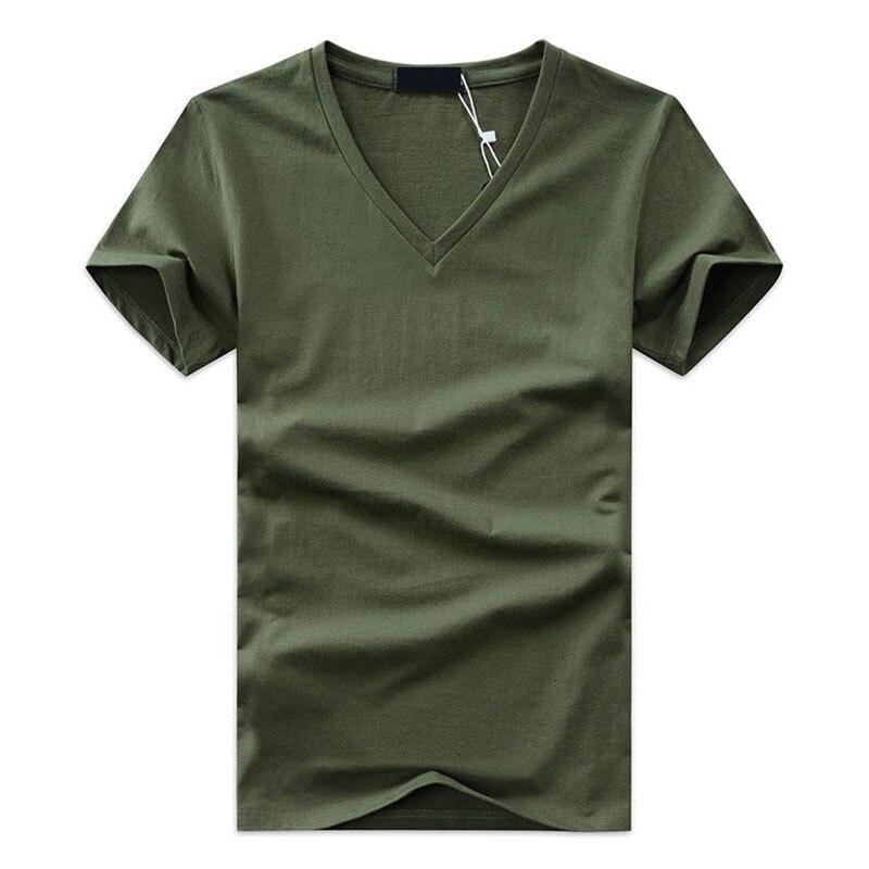 New High Quality Fashion Summer Men V Neck Tshirt Cotton Short Sleeve Tops Casual Slim Fit Classic Brand 5XL TX-113