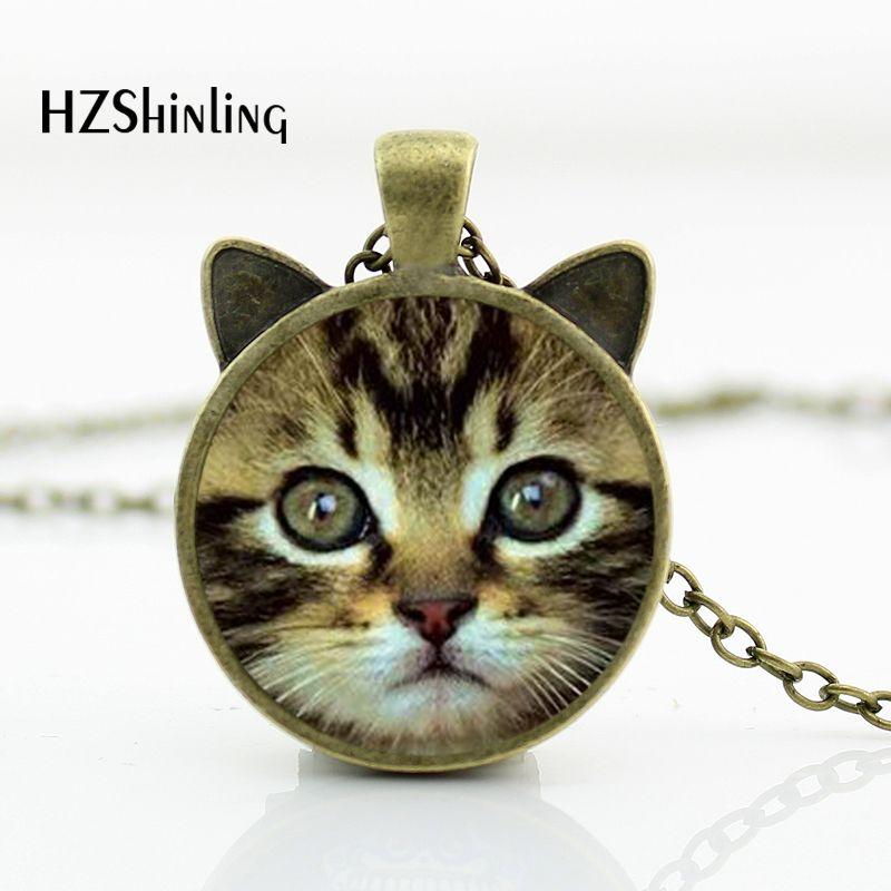 CN-00717 2017 Nuevo collar con cara de gato colgante con forma de gato bonito cúpula de vidrio para joyería COLLAR COLGANTE HZ2