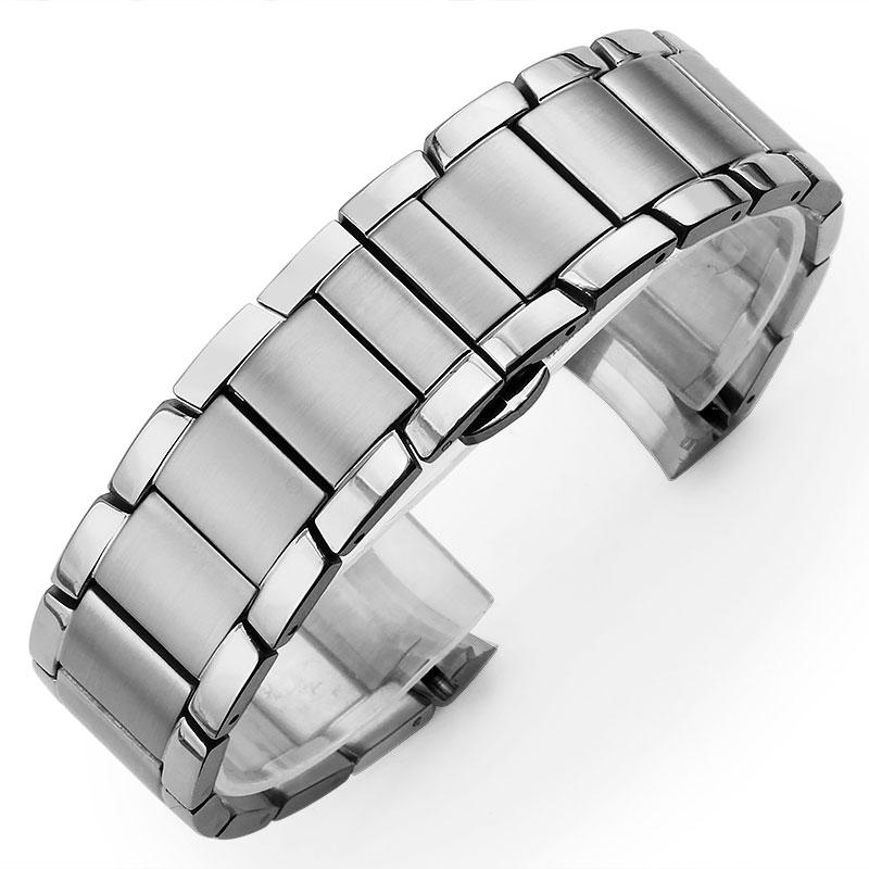 CuCurved Edelstahl Armband für Armani AR2448 AR2433 AR2452 AR2453 AR2433 männer Uhr Armband Schmetterling Schnalle 22mm