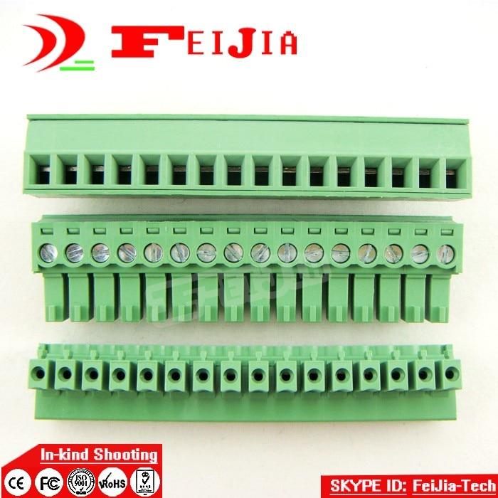 Envío gratis (10 unids/lote) 15EDG-3.81-14P 14Pin enchufe tornillo Terminal bloque ROHS conector 3,81mm