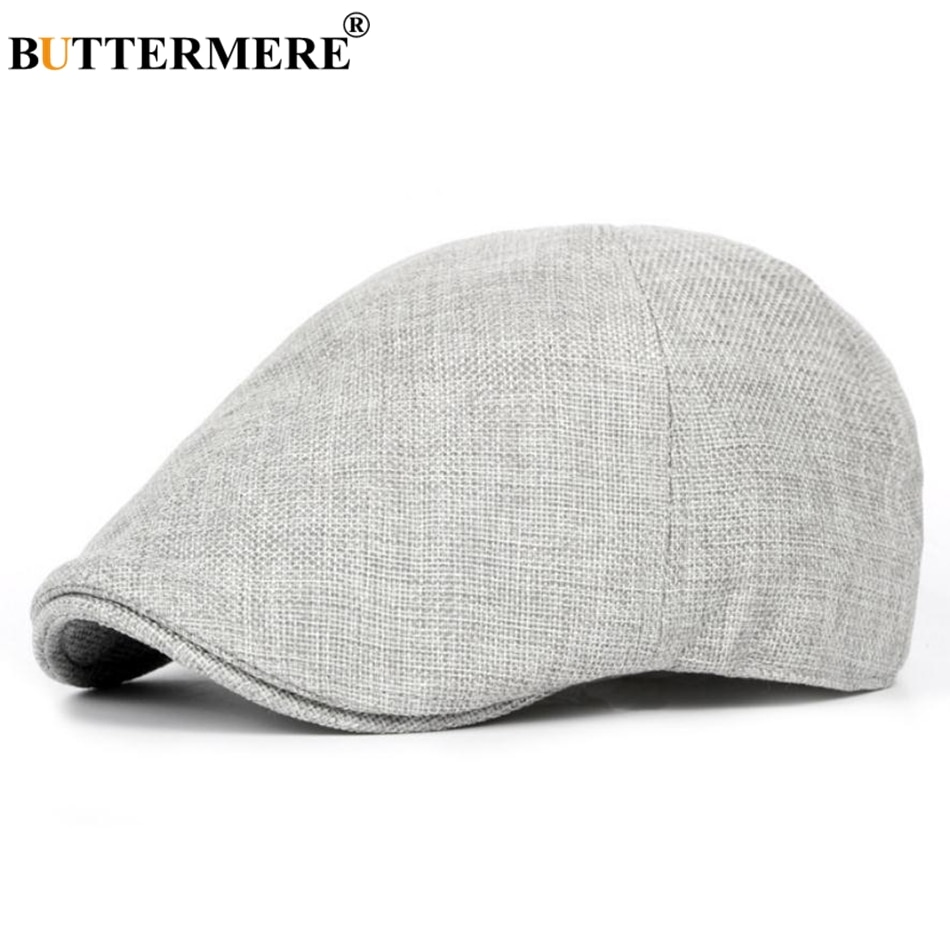 BUTTERMERE Summer Flat Caps Men Gray Linen Berets Male Vintage Elastic Driver Hat British Style Breathable Classic Directors Cap