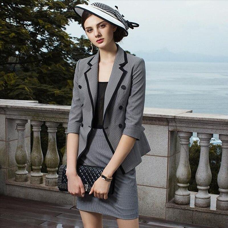 Skirt Suits Women 2 Piece Set Office Lady Business Formal Work Blazer Coat and Mini Pencil Skirt Elegant OL Female Suit Clothing
