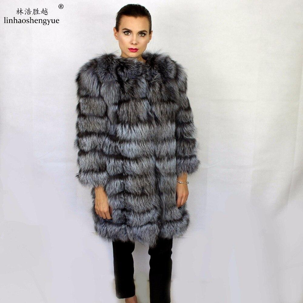 Linhaoshengyue moda real prata pele de raposa casaco feminino inverno quente quente freeshipping