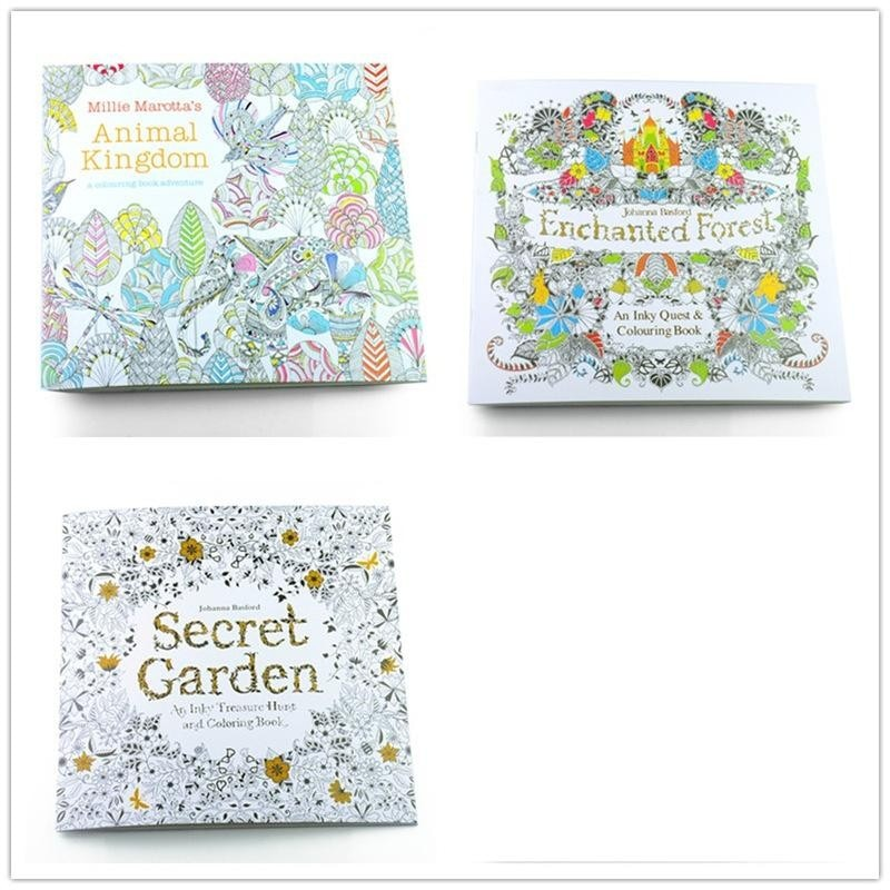 3 шт. английское издание Secret Garden + фантазия мечта + животное Королевство раскраска дети взрослые раскраски книга каждая книга 24 страницы