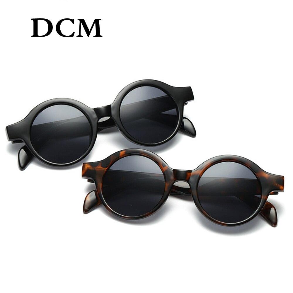 Gafas de sol redondas pequeñas DCM Retro Para hombre y mujer 2018, gafas de sol clásicas de moda, gafas de sol negras, blancas, de leopardo, Rojas UV400