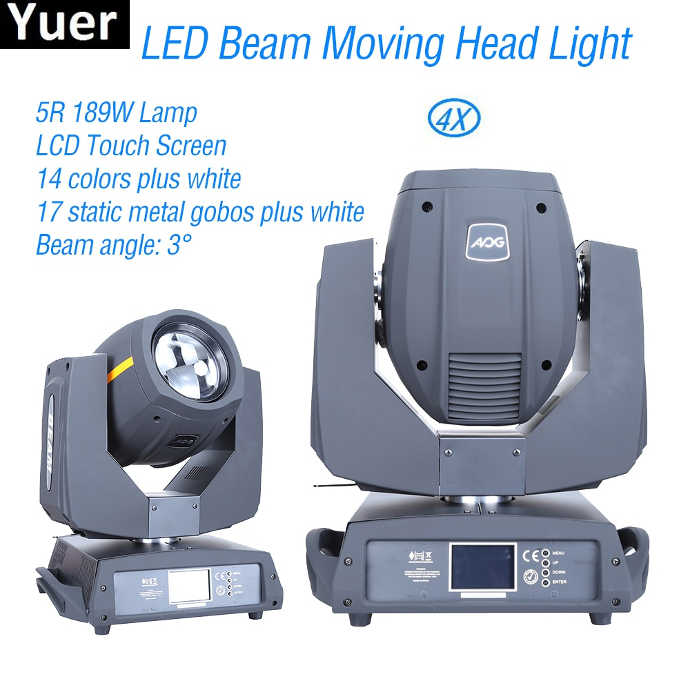 4Pcs/Lot DJ LED Beam Moving Head Light 5R 200W DMX512 Disco Equipment Party Club Stage Lights Color Music
