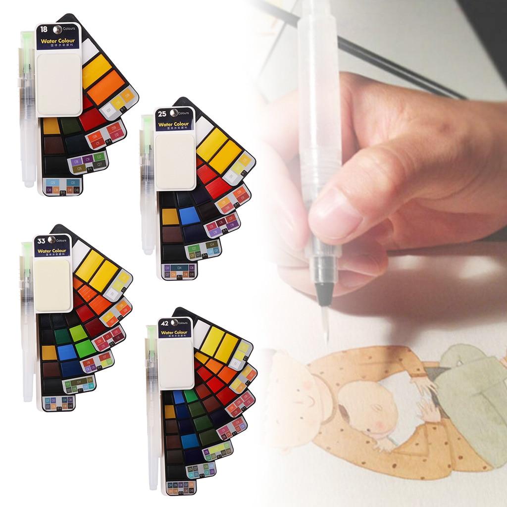 2020 New 18/25/33/42 Solid Color Painting Set Watercolor Pigment Portable Brush Pen Kit Art For Artist Portable