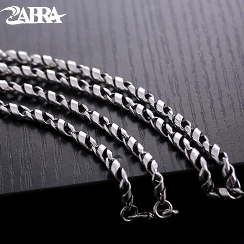 ZABRA de Plata de Ley 925 collar de hiphop para hombres ancho 4mm 21,6 pulgadas Cadena de Singapur torcida Vintage Punk joyas de motorista