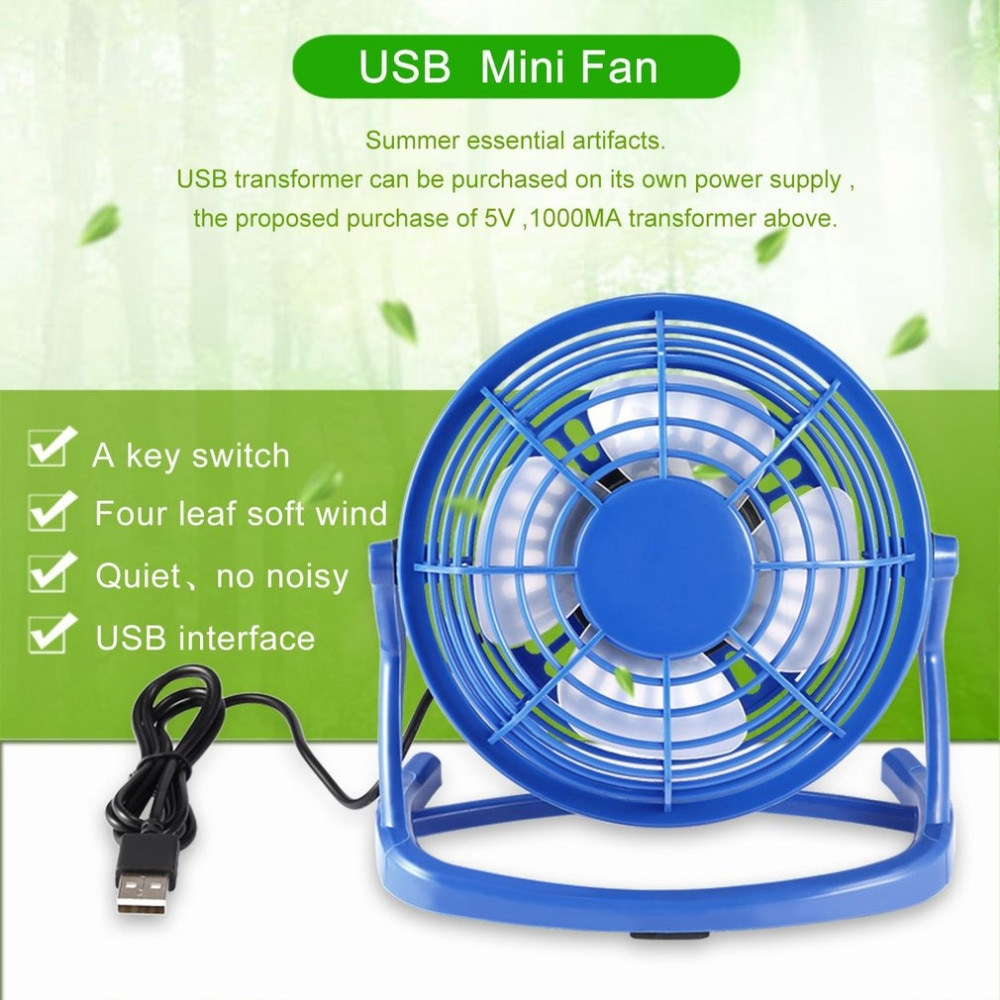 OUTAD Mini ventilador portátil recargable de aire coolUSB, ventilador enfriador de 4 aspas, miniventiladores alimentados por USB, ventilador de refrigeración para escritorio para ordenador