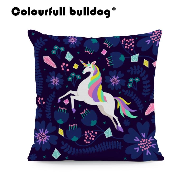 Encantadoras almohadas de arco iris de unicornio, cojines de flores amarillas con estrellas, cojín para chica con patrón de corazón rojo, decoración para sala de estar de 43*43 cm