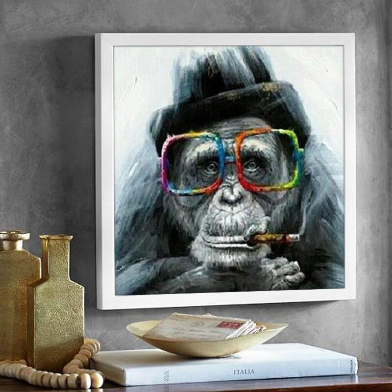 Ulight lienzo pared arte Gorilla Monkey con gafas y pipa Animal Arte Abstracto en la pintura moderna decoración del hogar cuadro sin marco