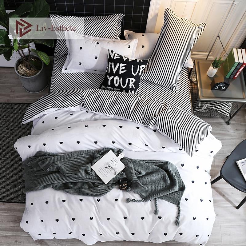 Liv-Esthete Fashion Simple Love Bedding Set Single Double Queen King Bed Linen Soft Duvet Cover Flat Sheet Pillowcase For Adult