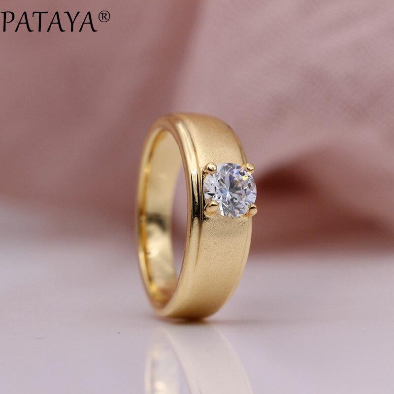 PATAYA, nuevos anillos simples y nobles para mujer, 585, oro rosa, blanco, Circonia Natural redondo, joyería de moda para fiesta de boda, anillos finos brillantes