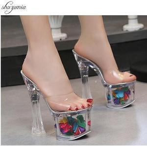 Women Slippers Summer 2019 Sexy Crystal Slipper Heels 17cm Transparent Sandals Cool Slippers Big yards Female's Wedding Shoe