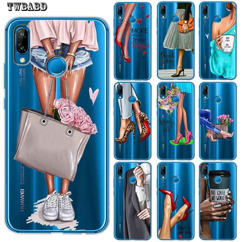 Funda de teléfono de moda para mujer y chica con tacones para Huawei P30 Lite P30 Pro P20 Lite P8Lite P9Lite 2017 P Smart P10 Lite P10 Etui