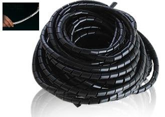 16mm 5 M Cable espiral tubo de envoltura de alambre arnés de viento cinturón de protección ordenador administrar Cable Color negro