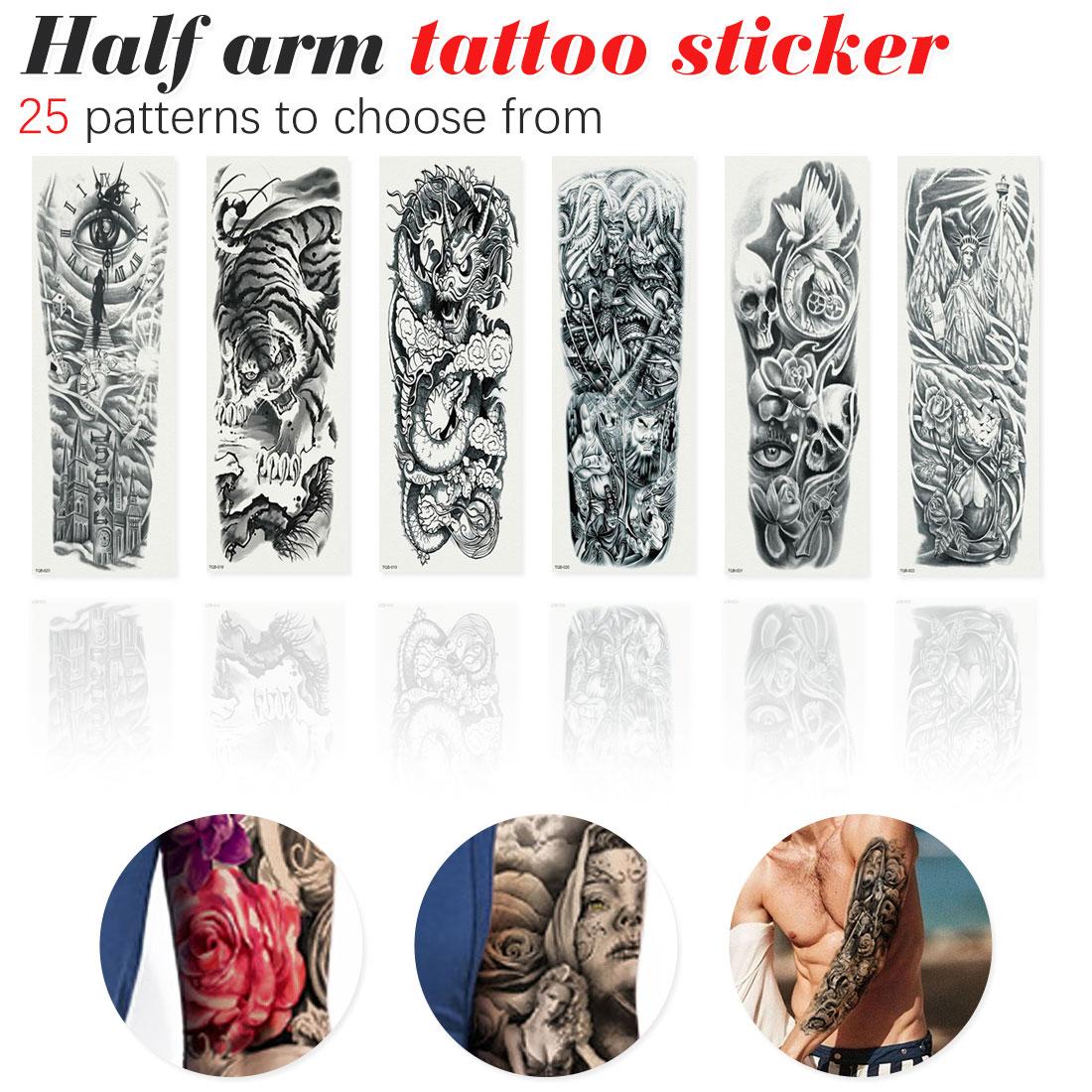 1 Uds. Tatuaje temporal a prueba de agua reloj de ojo Pagoda pájaro brazo completo tatuaje falso Flash tatuaje manga tatuaje