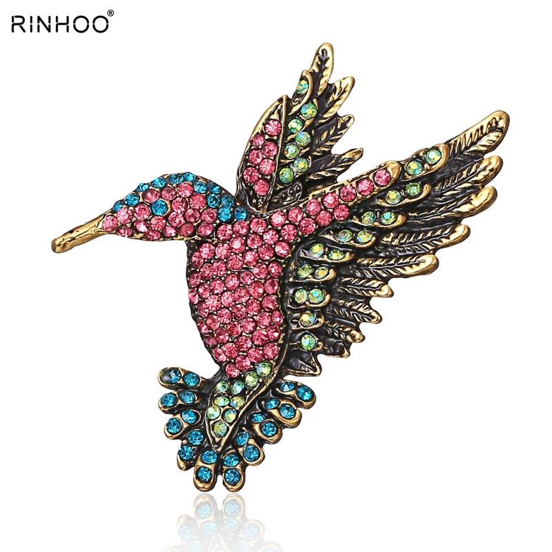 Broche colibri broche cristal strass Animal oiseau femmes vêtement écharpe accessoire bijoux Vintage