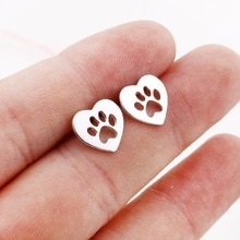 Daisies New Arrival Heart Shaped Dog Paw Print Earrings Women Small Earrings Pendientes Boucle d'ore